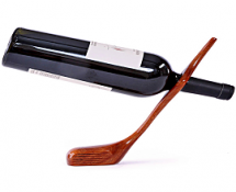 Golf Club Balancing Wine Bottle Holder, Mahogany